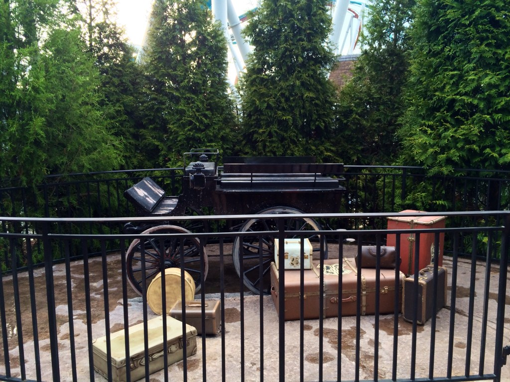 Horseless Carriage in by the train station